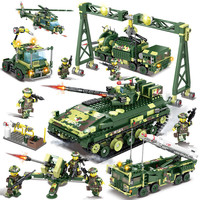 Military Field Army WW2 Soldiers Tank Missile Helicopter Figures Building Blocks LegoINGLs Bricks Toys for Boys Christmas Gifts
