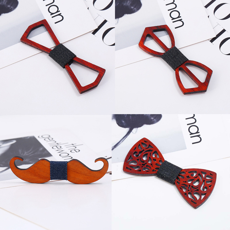 Fashion Chicago Wood Elegant Gentleman Bow Ties Handmade Butterfly Wedding Party Bow Ties Butterfly Wooden Unique Tie For Man