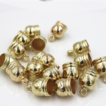 8mm Gold Colr Leather Cord CCB (Plastic) Tassel cap Jewelry Findings Wholesale image