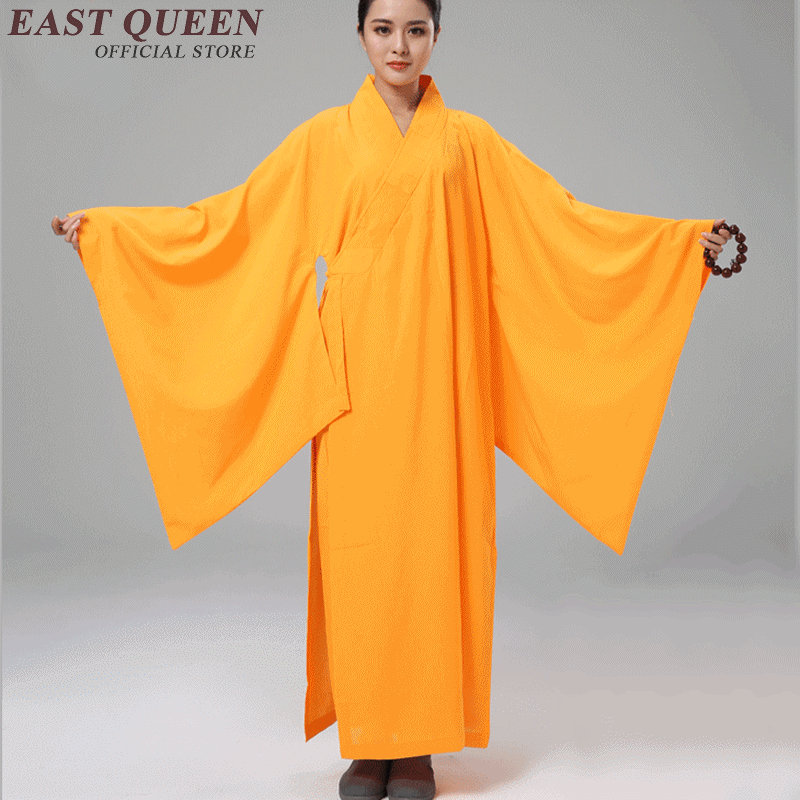 women long sleeve buddhist monk robes pure color female