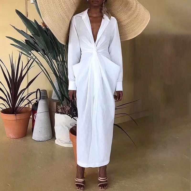 Twotwinstyle vestido de camisa para mulher com decote em v manga comprida ruched túnica cintura alta tamanho grande midi vestidos 2019 verão moda ol