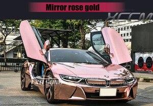 Image 5 - ローズゴールド strechable クロームミラービニール車のラップステッカー気泡柔軟なクロームミラービニールステッカー