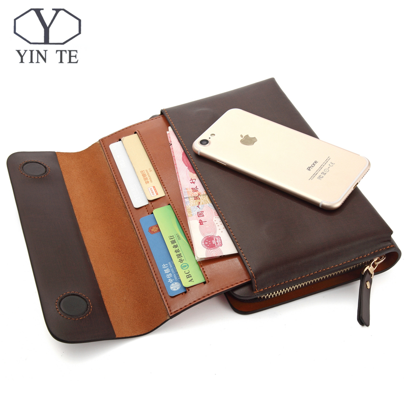 YINTE Men Clutch Wallets Long Zipper Male Wallet Leather Wallet Men Purses Wallet Male Clutch Handy Bag Portfolio C10341 Brown men wallet men contracted purse pu leather wallets short money clip wallet male clutch bag portfolio purses cartera hombre n 032