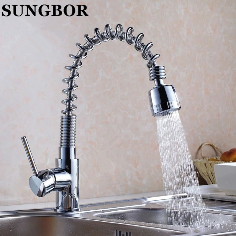 Wholesale Pull Out Faucet Chrome kitchen Pull Out And Swivel Sink Mixer Tap Free Shipping Mixer