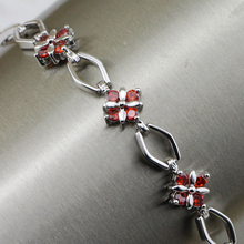 Chic Classy Nice Red Garnet Bracelet Platinum Plated Jewelry Gift For Women BB015C