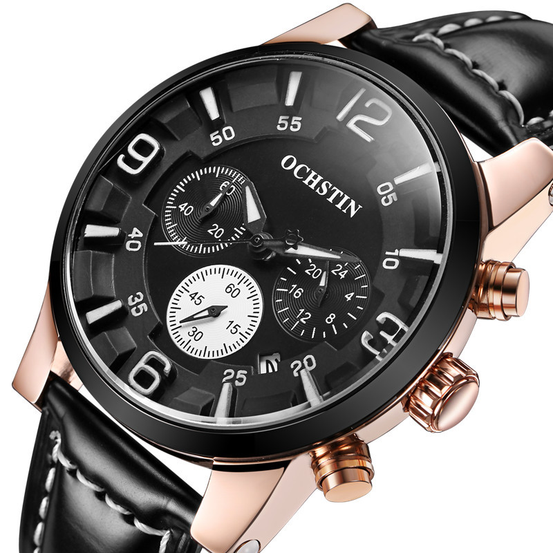 OCHSTIN Top Luxury Brand Men Sport Watches Mens Quartz Hours Chronograph 3 Dial Clock Man Leather Strap Military Wrist Watch A 2017 ochstin luxury watch men top brand military quartz wrist male leather sport watches women men s clock fashion wristwatch