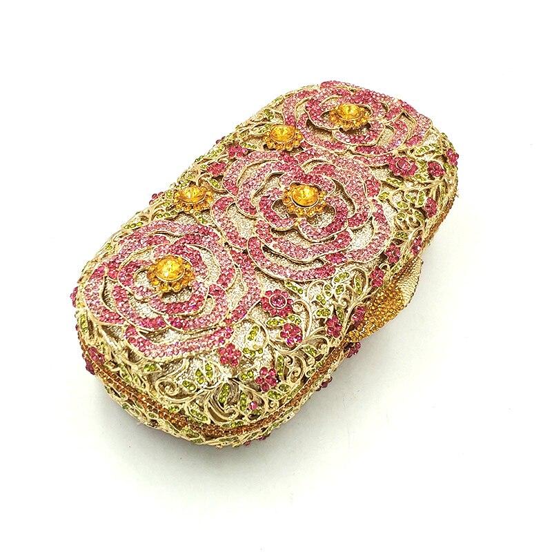 color Diamants Noce Fleur 1 Parti À Sac Send Main Accessoires Luxe Embrayages Rose Sacs Femmes Coeur Soirée De Cristal Nuptiale Pictures qtHzx1tpw