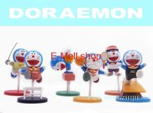 ORZ 6pcs/lot model Doraemon figures 5-7cm  Figure PVC Nobita Nobi Minamoto Shizuka Dolls Dorami Doranikov toys Free shipping