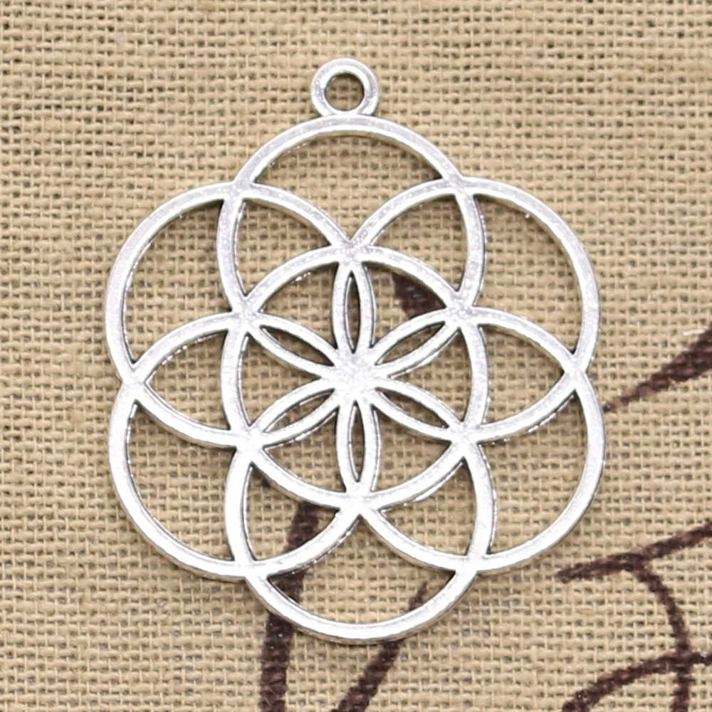 10pcs Charms flower of life yoga 37x32mm Antique Silver Pendants DIY Necklace Crafts Making Findings Handmade Tibetan Jewelry