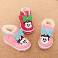 Winter warm little kids shoes prewalker botas de nieve niña de dibujos animados ratón soft baby shoes pu cuero rosa bebé botas tamaño 21-25