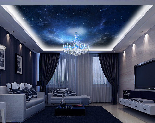 Custom ceiling wallpaper, the universe is used for apartment, house, office or retail space background wall waterproof wallpaper custom ceiling wallpaper blue sky and white clouds murals for the living room apartment ceiling background wall vinyl wallpaper