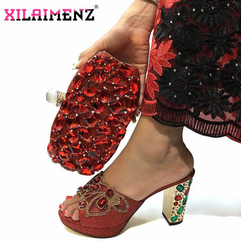 2019 г. Новые дизайнерские туфли Красного цвета в африканском стиле высокого качества с сумочкой для свадьбы