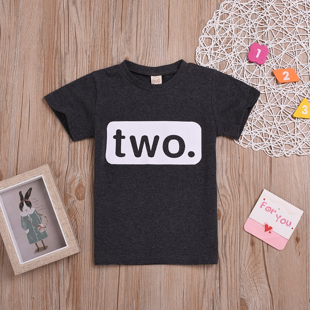 New Hot 2nd Birthday Boys T-shirt 2 Year Old Toddler Kids Tee Outfit Second Two T-shirt Party Clothes Free Shipping Crease-Resistance