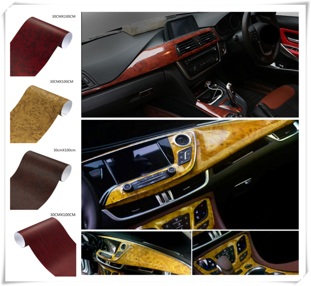 Car interior film wood grain paper color bright surface console for Toyota VIOS LAND CRUISER PRADO COASTER highlander-in Car Stickers from Automobiles & Motorcycles