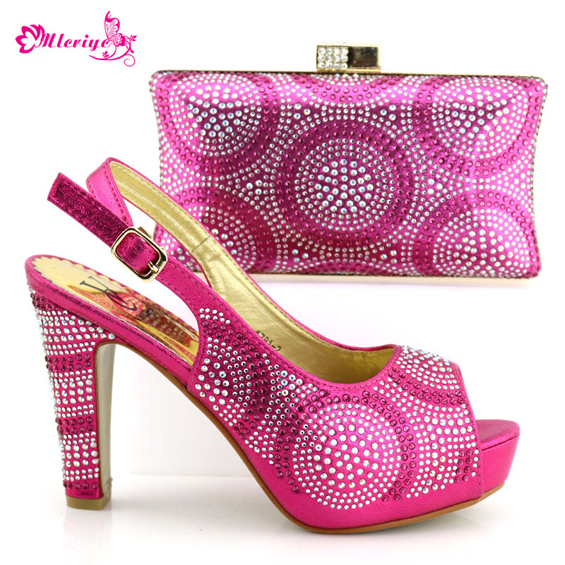 Italian Shoes with Matching bags For fuchsia Party african Shoes And Bags Set For Wedding Party Shoe and Bag Sets set 1719-2 new fashion italian shoes with matching bags for party black color african shoes and bags set for wedding 10 cm shoe and bag set page 3