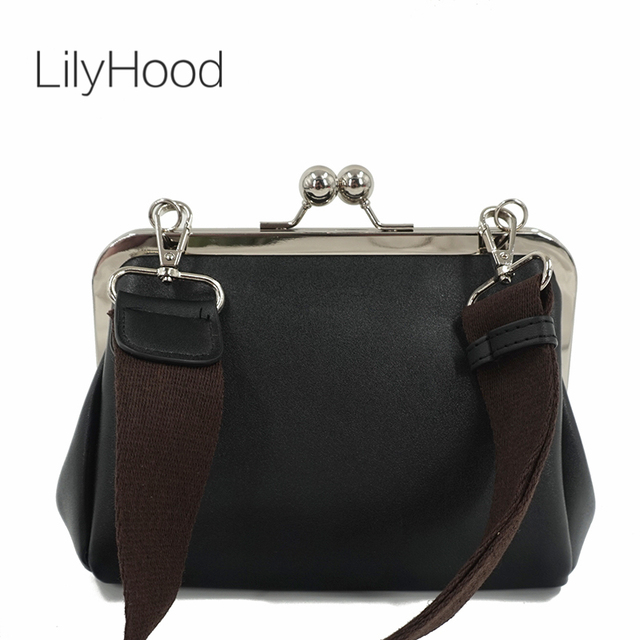 858019c7d9ec LilyHood Women Vintage Retro Chic PU Leather Kiss Lock Black Shoulder Bag  Old Time Small Feminine