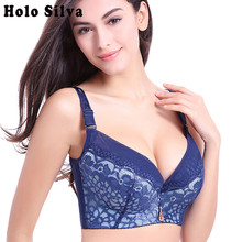Big size bra Push Up 44E 44D 44C 42E 42D 42C 40E 40D 40C 38E 38D 38C 36E 36D Cup Bra for Women Sexy lace Push up Lingerie Vs Bra(China)
