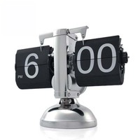 Retro Auto Flip Down Clock Desk Table Internal Gear Operated Single Scale Stand Black Free Shipping