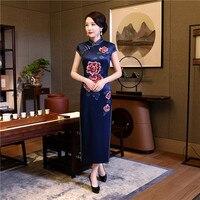 البحرية الزرقاء الشرقيون سيدة جديدة طويلة فساتين شيونغسام النمط الصيني النساء اليوسفي طوق سلم فستان تشيباو طباعة زائد حجم 4xl