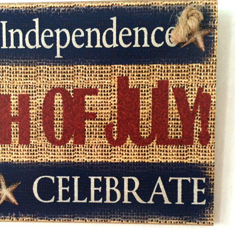 Image 4 - Rustic Wooden Hanging Plaque Sign Board American Independence Day Happy 4th Of July Room Wall Door Home Decoration Gift-in Plaques & Signs from Home & Garden