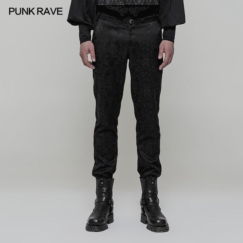 PUNK RAVE Gothique Rétro Taille Haute Pantalon Palais Club Rock Fleurs Jacquard De Mariage Tissé Jacquard Tissu Pantalon