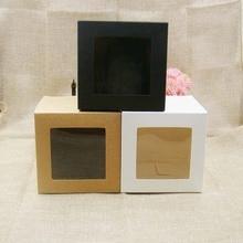 10*10*10m 3 couleur blanc/noir/kraft stock boîte de papier avec fenêtre en pvc transparent. Faveurs affichage/cadeaux et artisanat papier fenêtre boîte demballage
