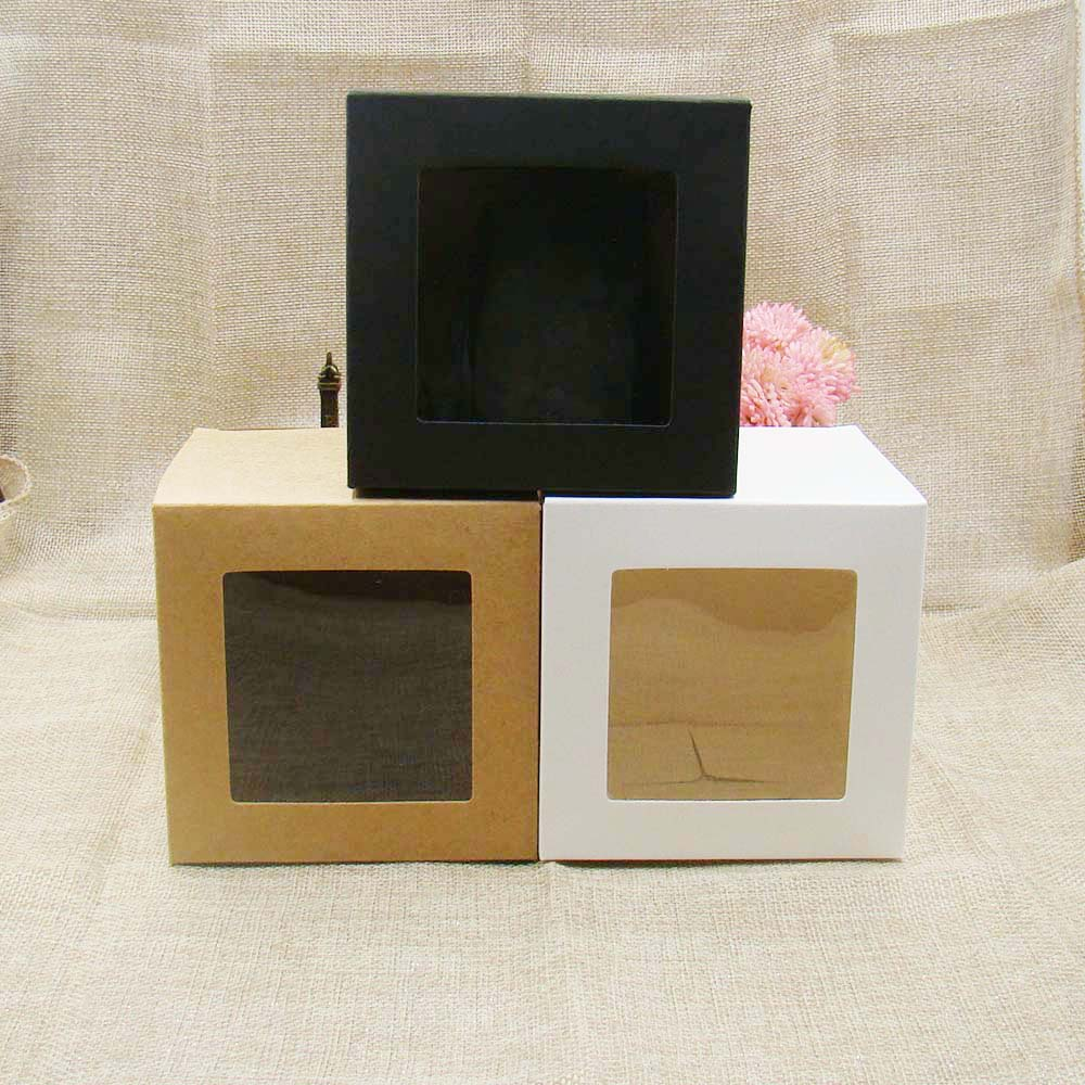10*10*10m 3color white/black/kraft stock paper box with clear pvc window .favors display /gifts&crafts paper window packing box