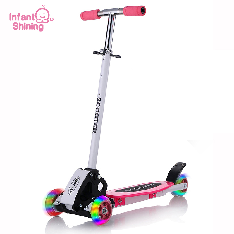 Infant Shining Kids Scooter Outdoor Toy Baby Bike Safety Kick Scooter Folding Flash Wheels Scooter voor kinderen