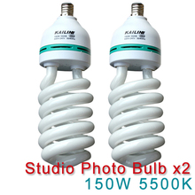 2pcs 150W E27 5500K CFL Photography Lighting Video Bulb Daylight Balanced 5500k Energy Saving fluorescent Lamp photo studio