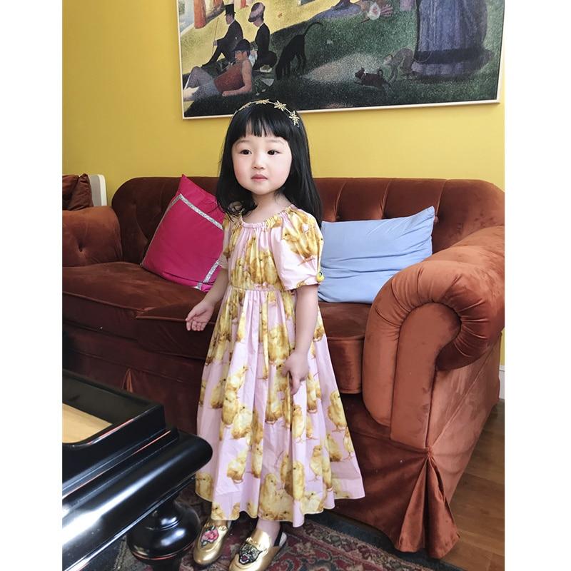 Girls Dress Cute Animal Chicken Pattern Printed Girls Long Dress open shoulder printed dress