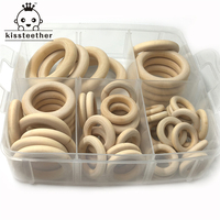 Nature Montessori Baby Toy Organic Infant Teething Teether Toy Accessories Wooden Ring Set Necklace
