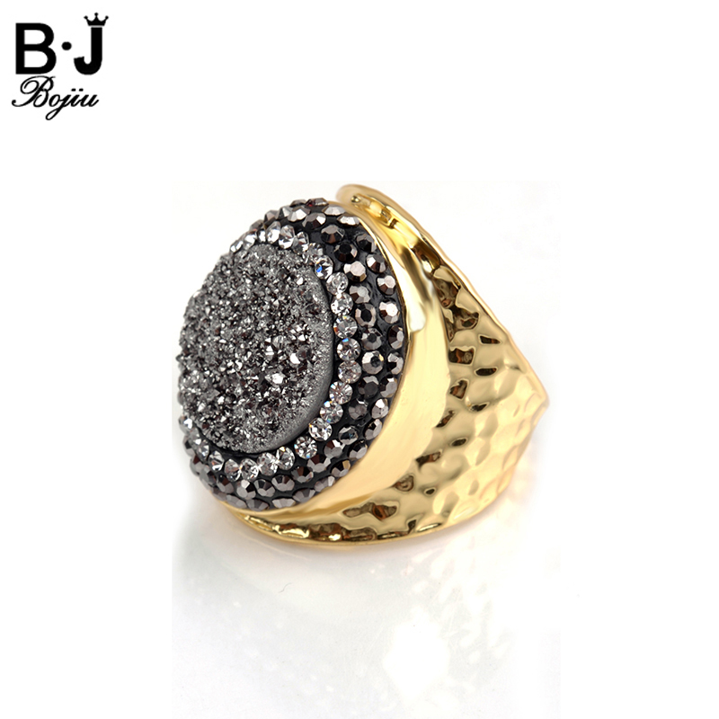 Bojiu New Ring Bright Natural Druzy Stone Pave Zircon Adjustable Size Rings For Women Copper Gold-color Quartz Lady Rings RI017