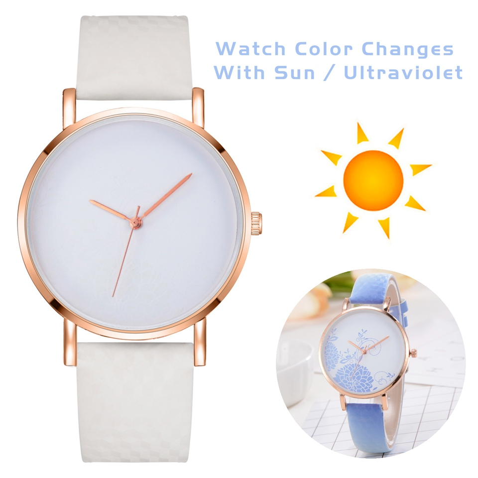 Simple Temperature Change Color Women Watch Sun Uv Color Change Women Fashion Quartz Wristwatches Drop Shipping Zegarek Damski