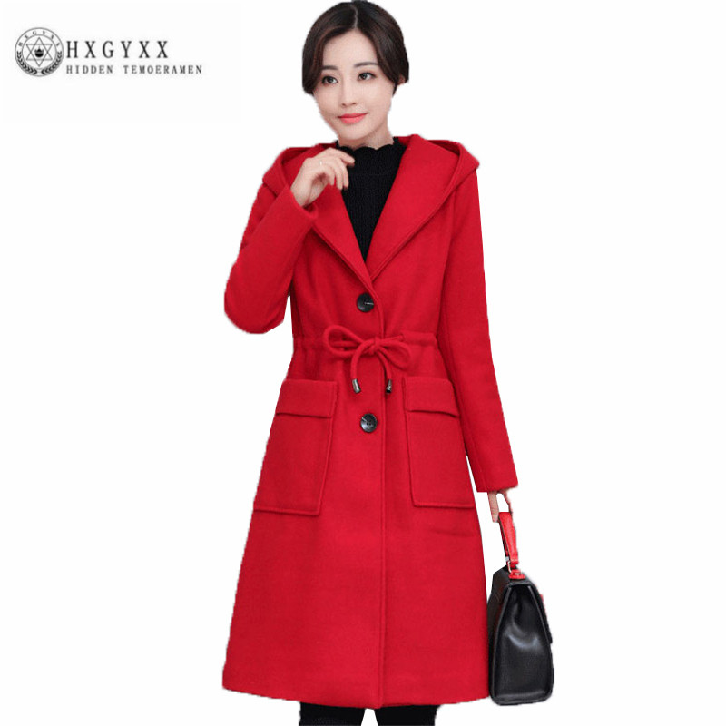 Hot sale 2018 New Winter Women Woolen cloth Coat Han edition Slim Long Female Parka Fashion Leisure Pure color Outerwear ZX0264