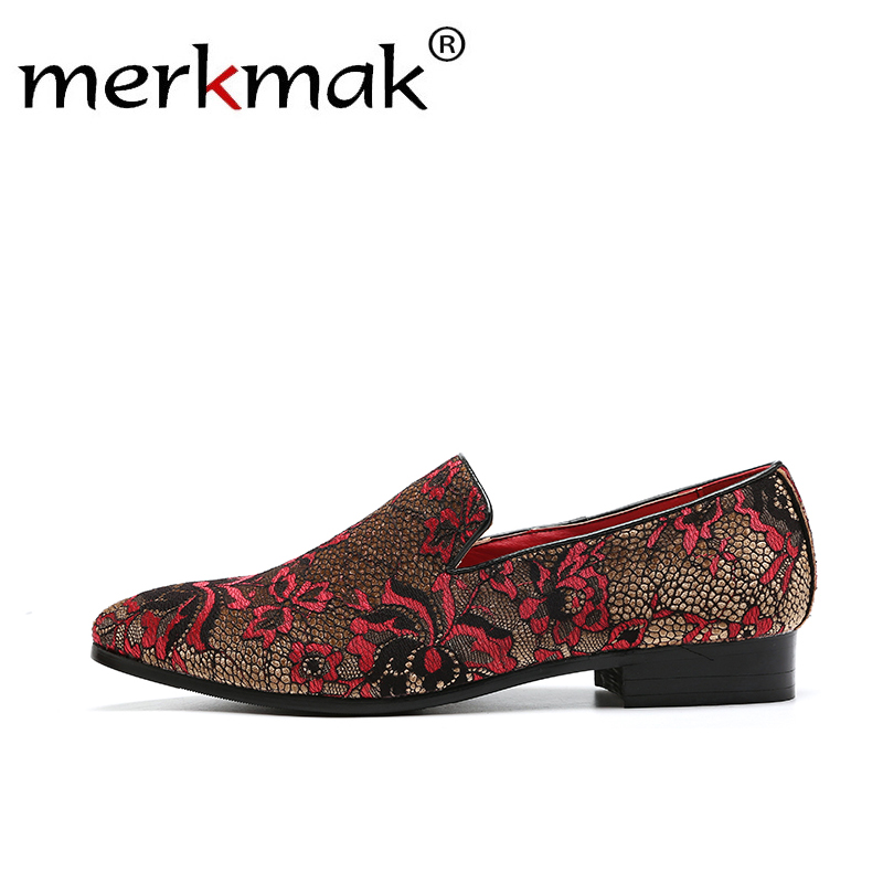 Merkmak Autumn Men Loafers Slip On Classic Embroidery Pattern Footwear Big Size 37-48 Comfortable Casual Dress Men's Flats Shoes