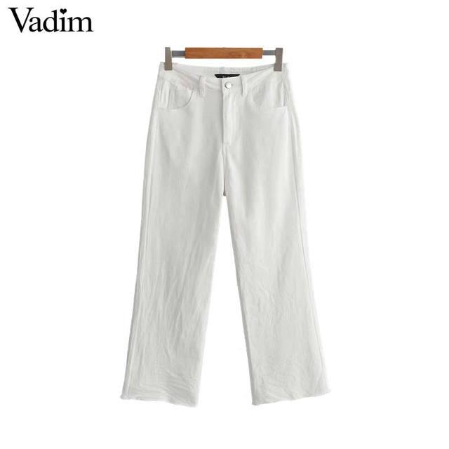 Vadim נשים מוצק לבן קרסול אורך ג 'ינס רוכסן לטוס עיצוב כיסים לקשט ישר נשי אופנתי מזדמן שיק מכנסיים KB043