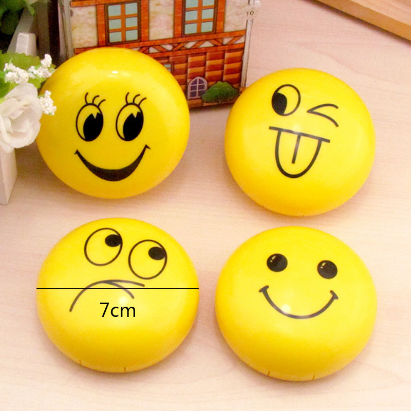 Sale Yellow Random Smile Face Contact Lens Case Funny expression Travel Portable Glasses maintenance box with mirror
