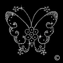 2pc/lot Fluttering Butterfly Transfer iron on transfer hot fix rhinestone motif designs patches for shirt dress bag pillow