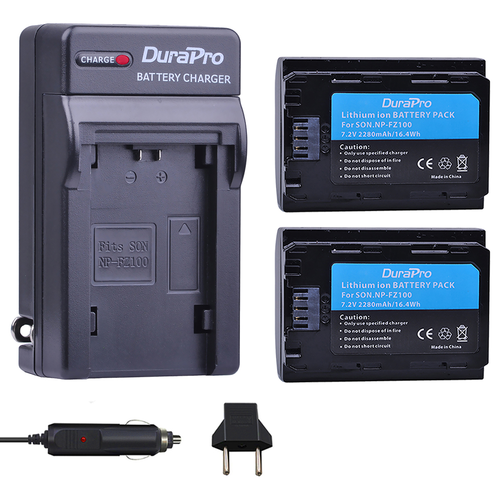 1PC 2280mAH NP FZ100 Battery + Car Charger for Sony NP-FZ100 BC-QZ1 Alpha 9, A7RIII, ILCE-7RM3 for Sony A9, A9R, Alpha 9s Camera np f960 f970 6600mah battery for np f930 f950 f330 f550 f570 f750 f770 sony camera