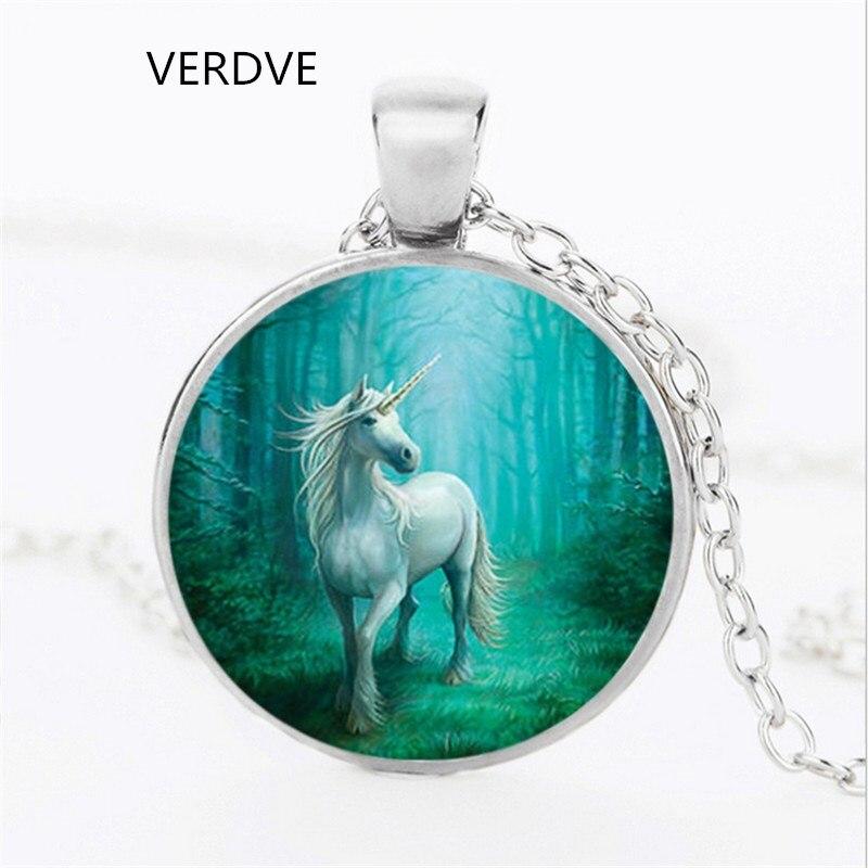 Mens necklace Fashion White Unicorn Art Photo Vintage Pendant Chain Vault Chain Jewelry Woman Girl