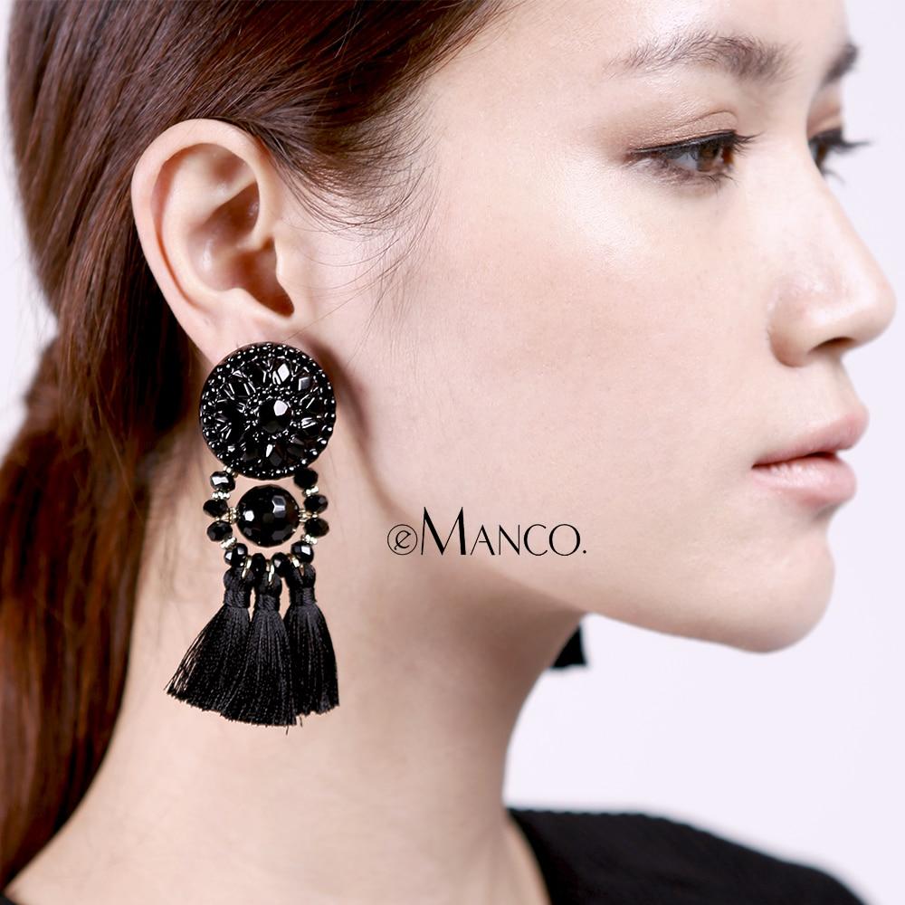 EManco dames lange oorbellen opknoping druppels kwasten oorbellen voor vrouwen etnische verklaring bengelen oorbel met steen zwart bijouterie