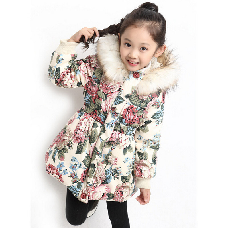 2018 winter style jacket for girls design cotton girls winter jacket flower pattern girls winter outwear 2015 new girls design jacket luxury brand child outwear flower printed coat