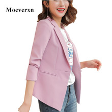 Women Jacket Long Sleeve Solid Casual Work Office Slim One Button Short Blazer Spring Autumn Lady Blazers Work Wear FLN1518
