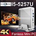 Barato fanless barebone i5 mini pc haswell pc intel core i5 5257U 4 K HTPC Gráficos Iris 6100 2 * Nics 2 * HDMI 300 M wi-fi