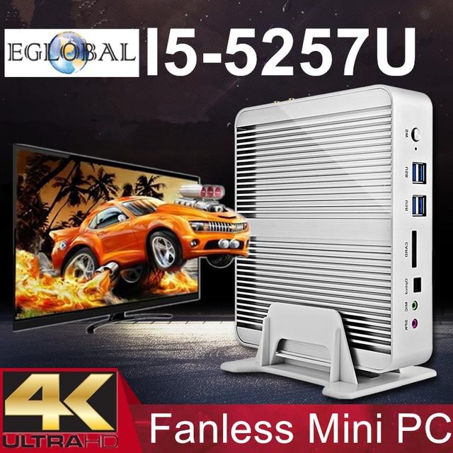 Cheap Fanless Barebone i5 Mini PC Haswell PC Intel Core i5 5257U 4K HTPC Graphics Iris 6100 2*Nics 2*HDMI 300M Wifi