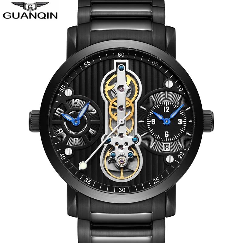 GUANQIN new 2018 mechanical watches for men waterproof Tourbillon Automatic Skeleton watch men luxury Relogio Masculino sport A lo ultimo en reloj tourbillon