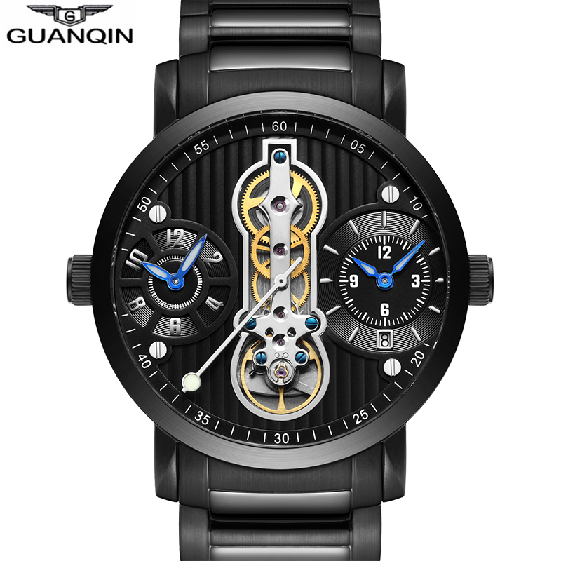 GUANQIN Automatic Tourbillon Mechanical Watches Men Skeleton Watch Luxury Waterproof Sport Relogio Masculino