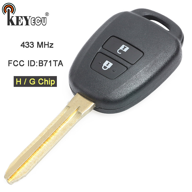 KEYECU 433MHz H / G Chip FCC ID: B71TA Replacement 2 Button <font><b>Remote</b></font> <font><b>Key</b></font> Fob for <font><b>Toyota</b></font> RAV4 <font><b>Yaris</b></font> image