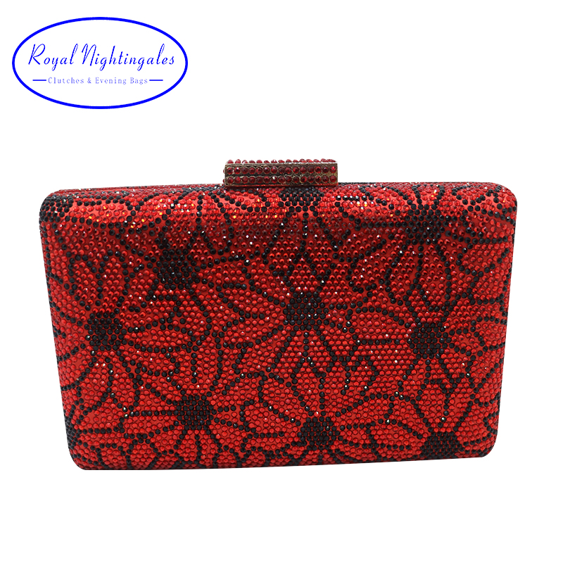 Royal Nightingales Crystal Clutch Evening Bag and Handbags for Womens Party Red Yellow White