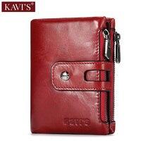 KAVIS Red 100% Genuine Leather Women Wallet Female Small Walet Portomonee Lady Zipper Money Bag Vallet Coin Purse Card Holder